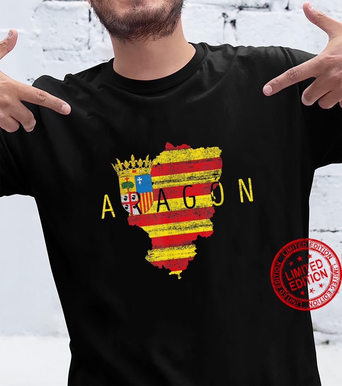 Aragonesische Karte und Flagge Aragon Spanien Souvenir Shirt