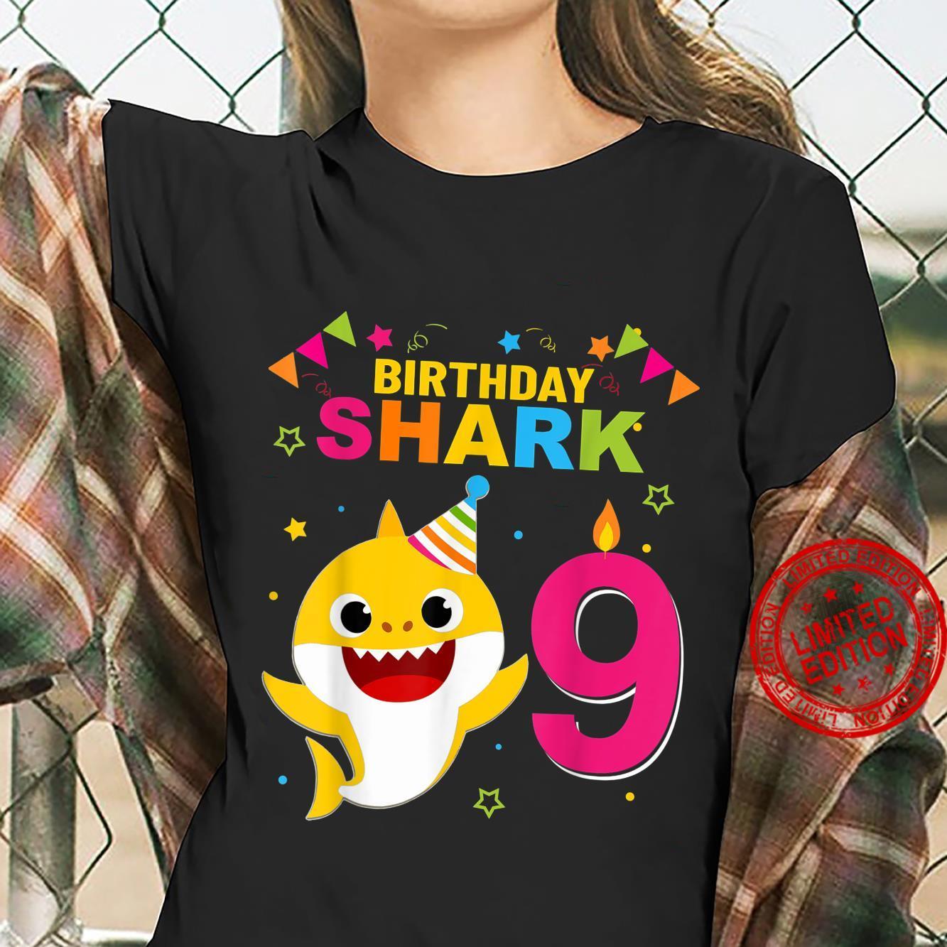 Birthday Boy,Girl nine 9 Year Old Baby Shark 9th Shirt ladies tee