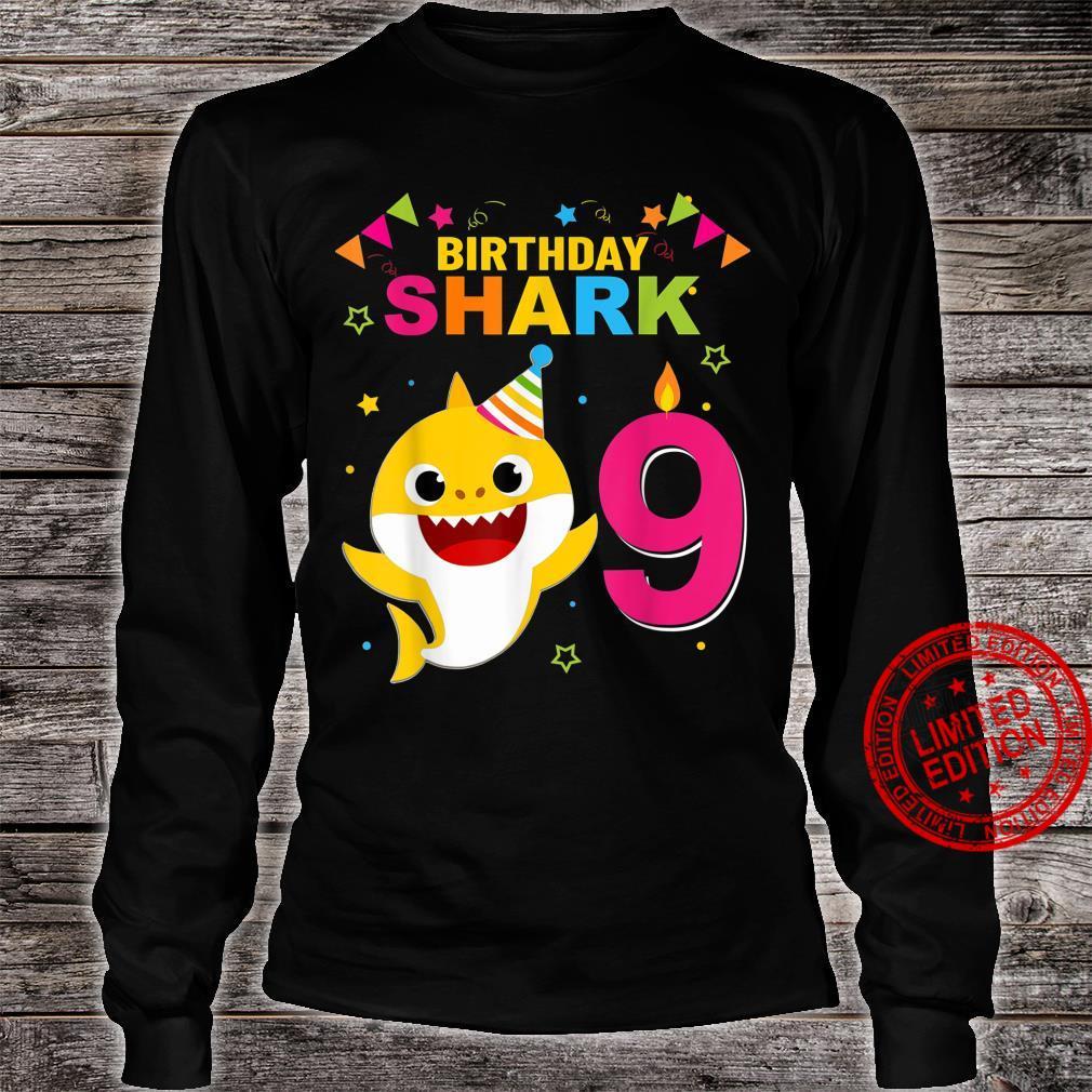 Birthday Boy,Girl nine 9 Year Old Baby Shark 9th Shirt long sleeved