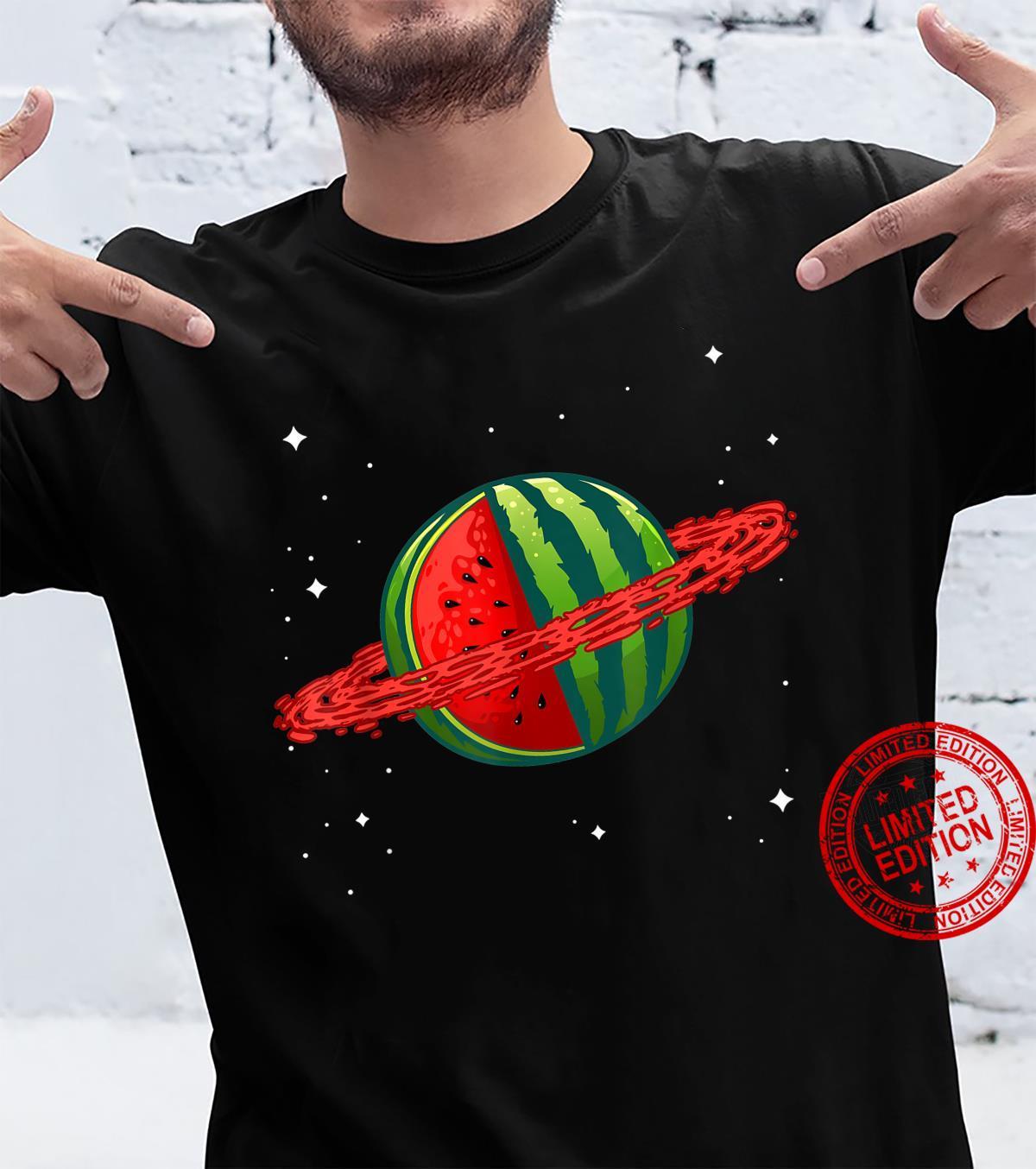 Funny Watermelon Designs Fruit Planet Science Shirt