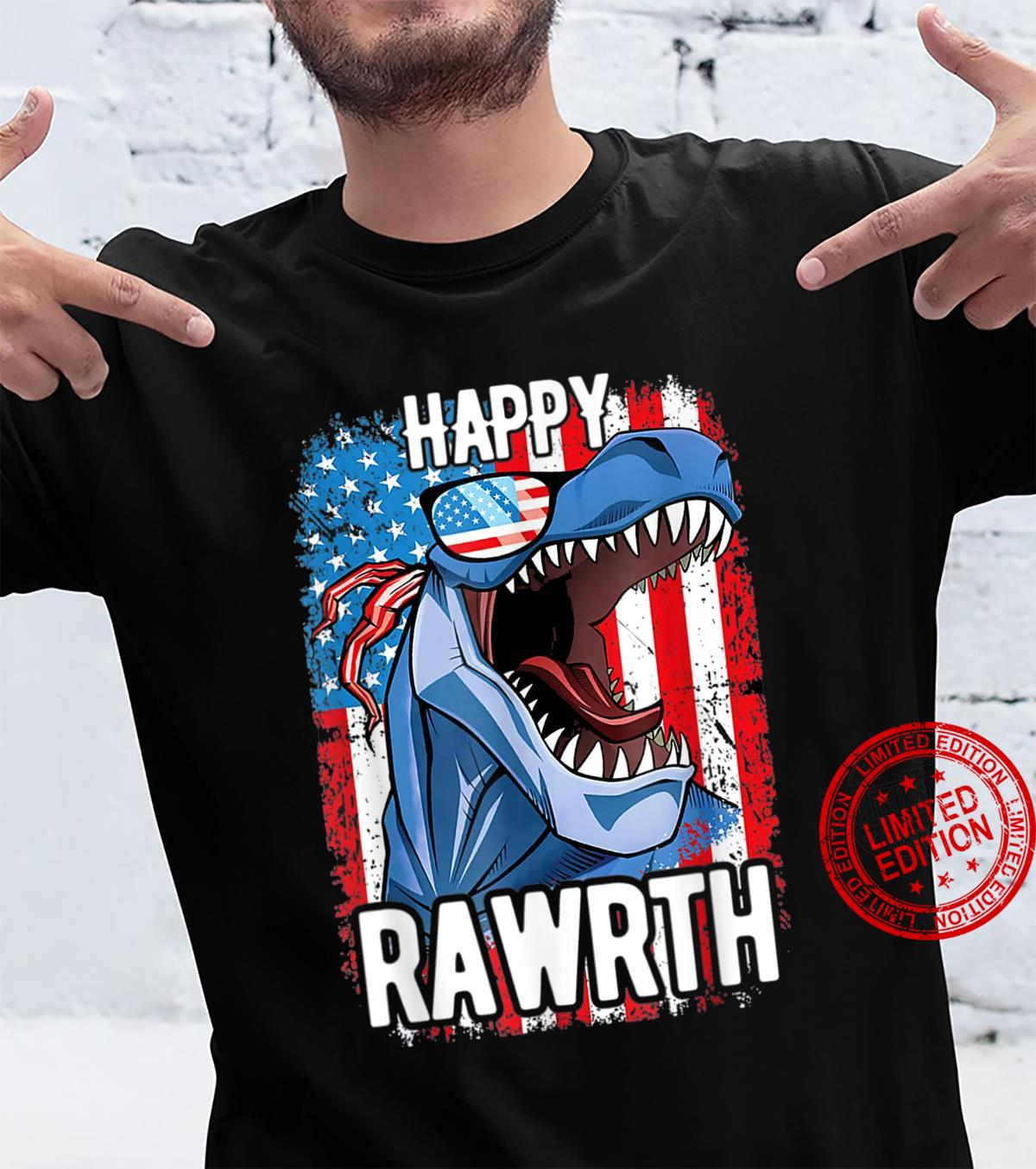 Happy July 4th TRex Sunglasses US Flag Independence Day Shirt