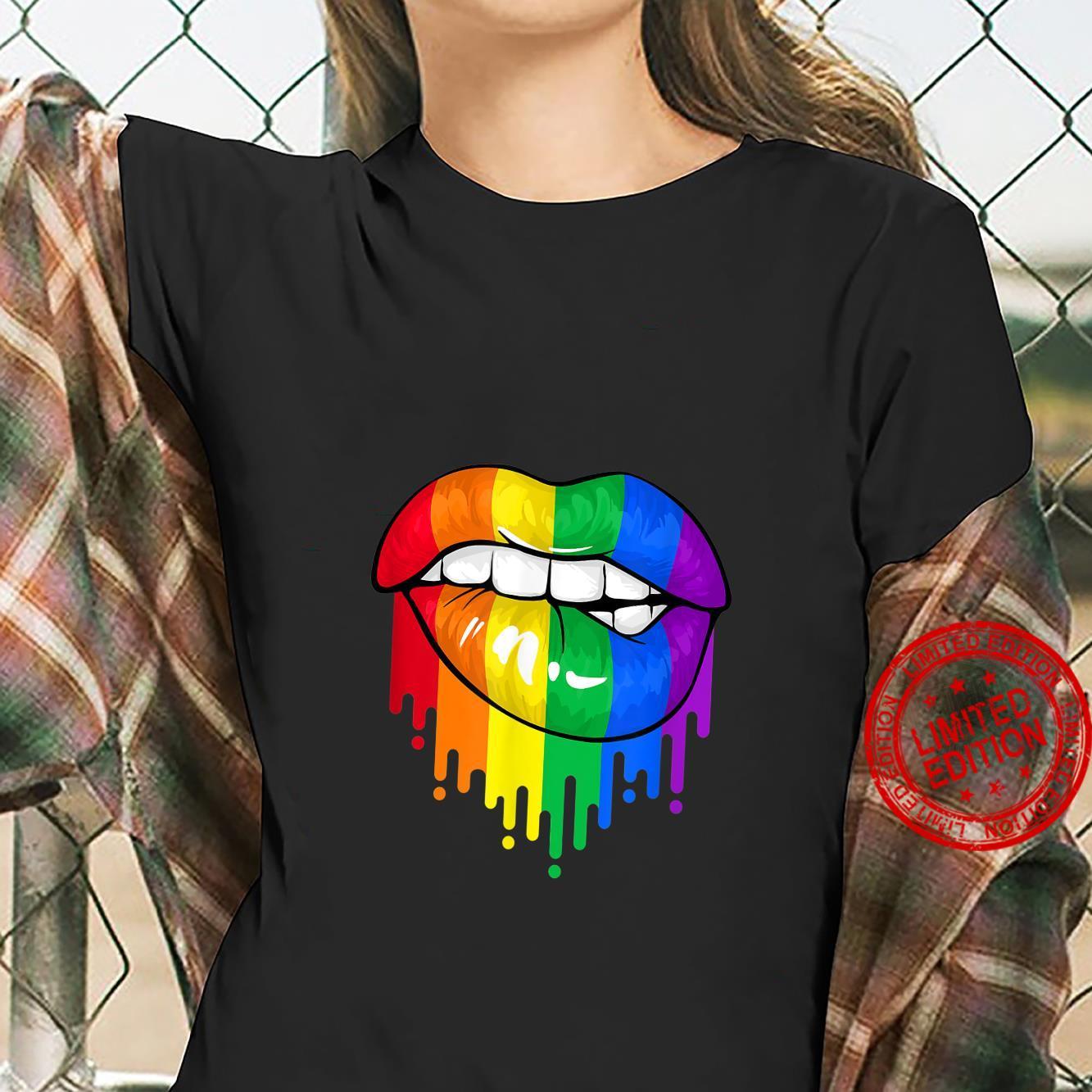 LGBT Rainbow Lips Pride Gay Homosexual Lesbian Shirt ladies tee