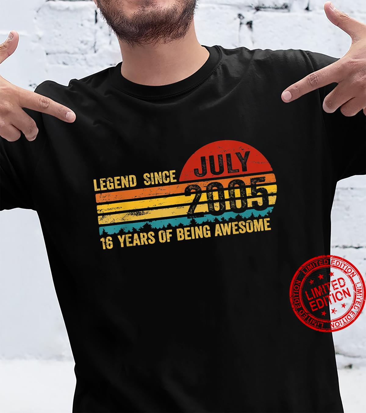 Legend Since July 2005 16Th Birthday 16 Year Old Shirt