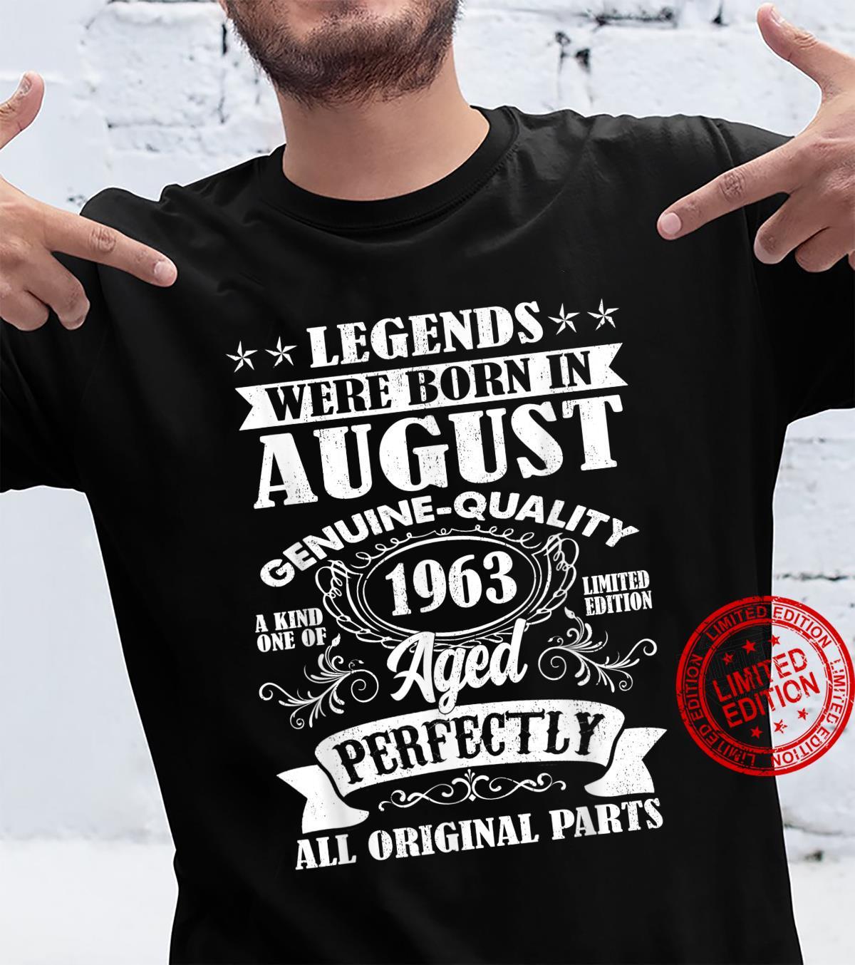 Legends Were Born In August 1963 58Th Birthday Shirt