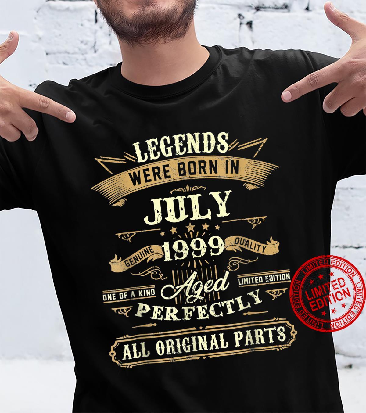 Legends Were Born In July 1999 22nd Birthday Shirt