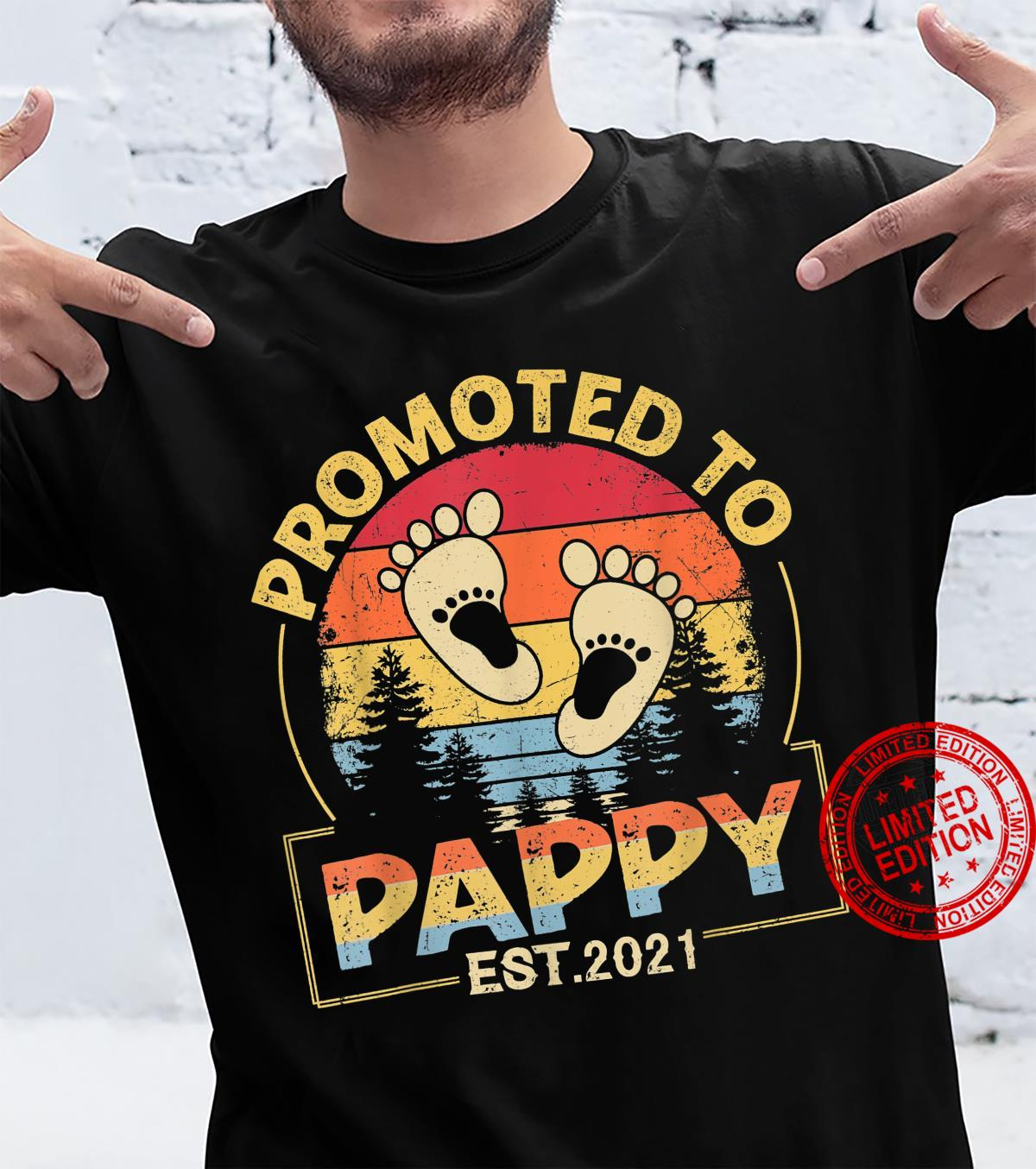 Promoted To Pappy Happy Family With Vintage Footprint Shirt