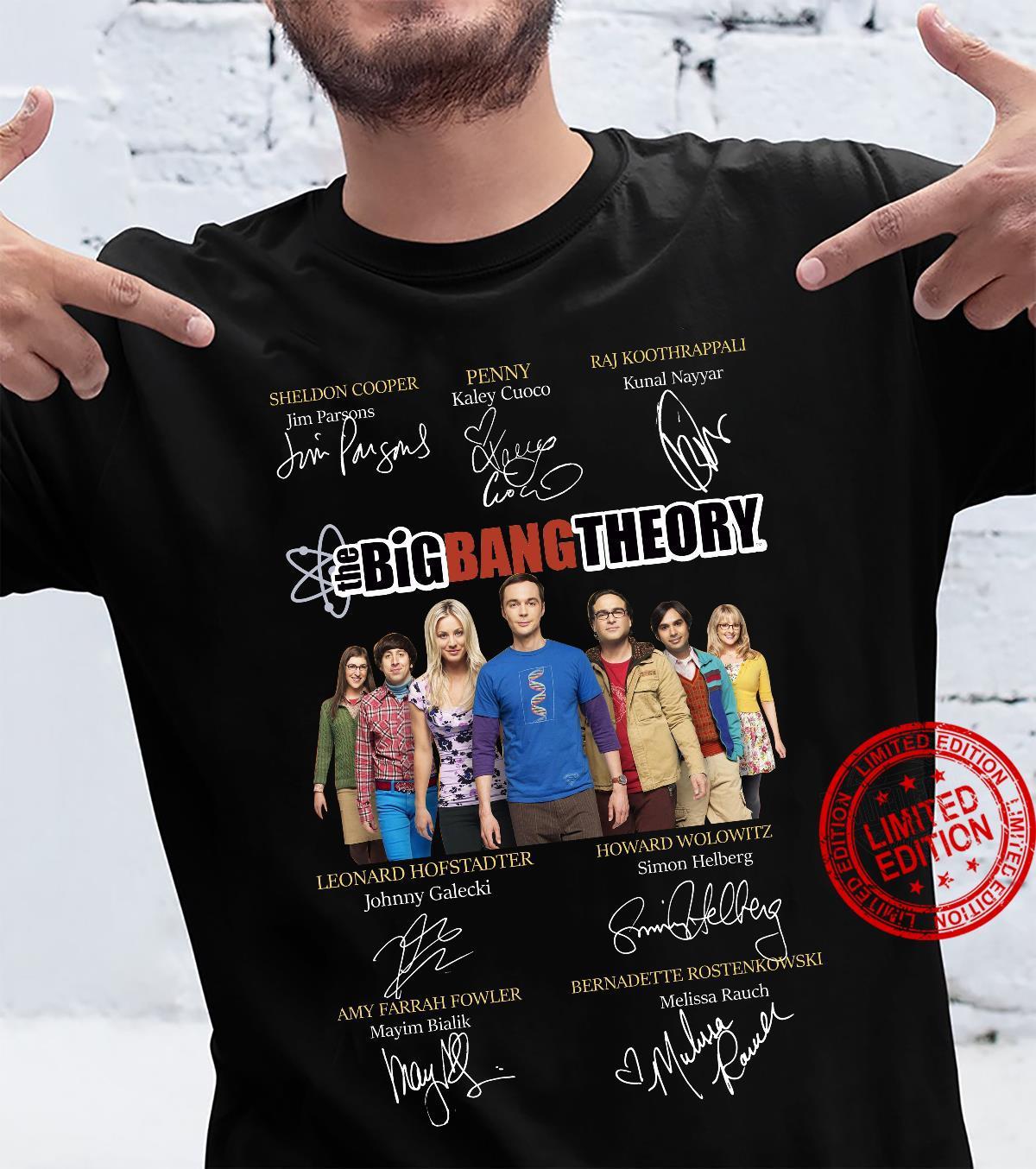 The big bang theory signature of Sheldon Cooper Penny Raj Koothrappali shirt