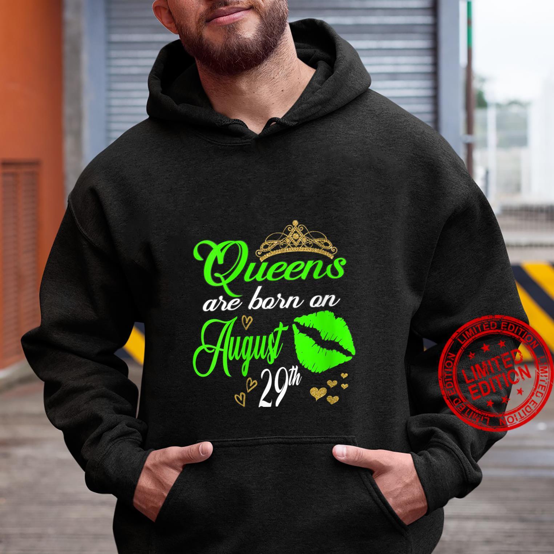 Womens Lip Print Queens are Born on August 29th Virgo Birthday Girl Shirt hoodie