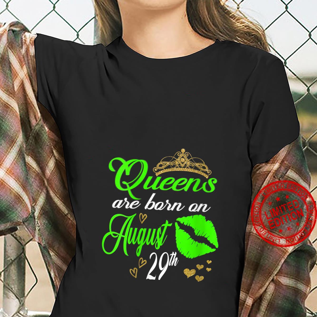 Womens Lip Print Queens are Born on August 29th Virgo Birthday Girl Shirt ladies tee