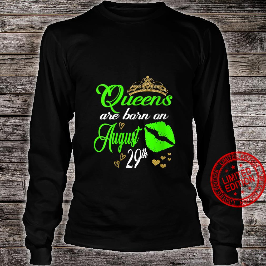 Womens Lip Print Queens are Born on August 29th Virgo Birthday Girl Shirt long sleeved