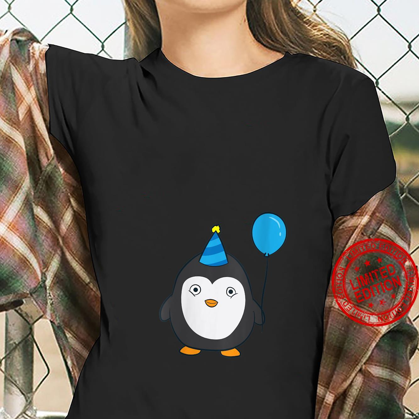 Womens Penguin Birthday Balloons Birthday Party Penguins Shirt ladies tee