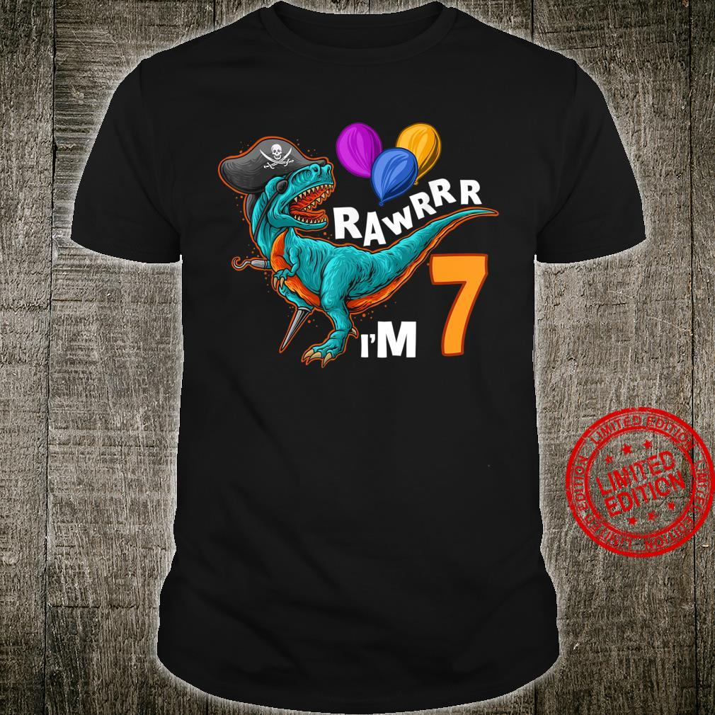 7th Birthday Shirt Pirate Dinosaur Birthday TRex Party Shirt