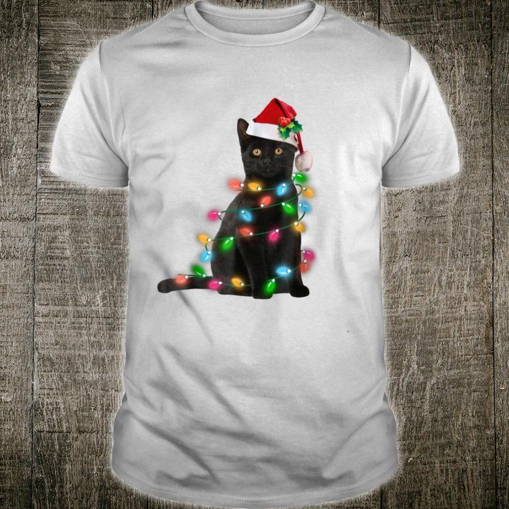 Black Cat christmas light Shirt cat christmas Shirt