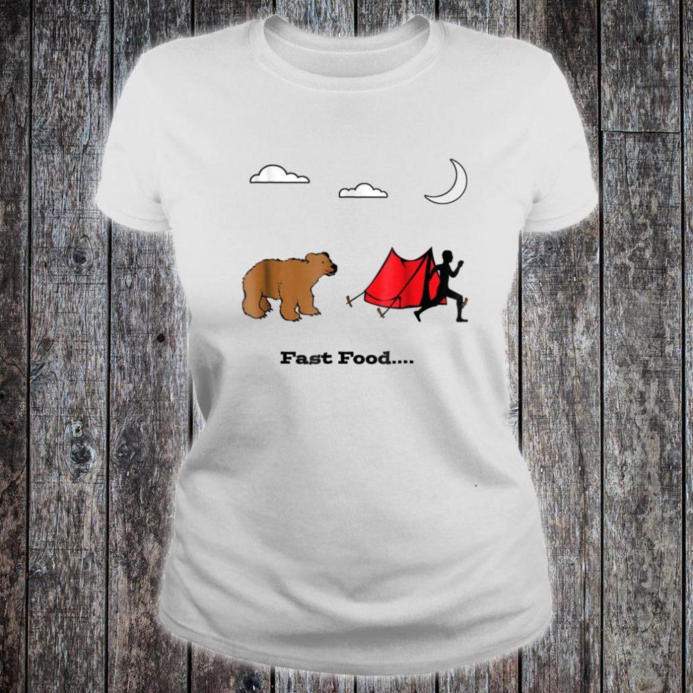 Camping Fast Food Humorous Running From Bear Shirt ladies tee