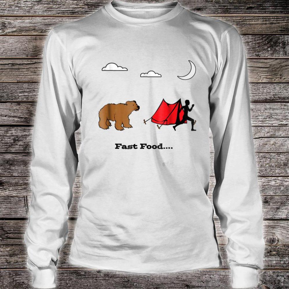 Camping Fast Food Humorous Running From Bear Shirt long sleeved