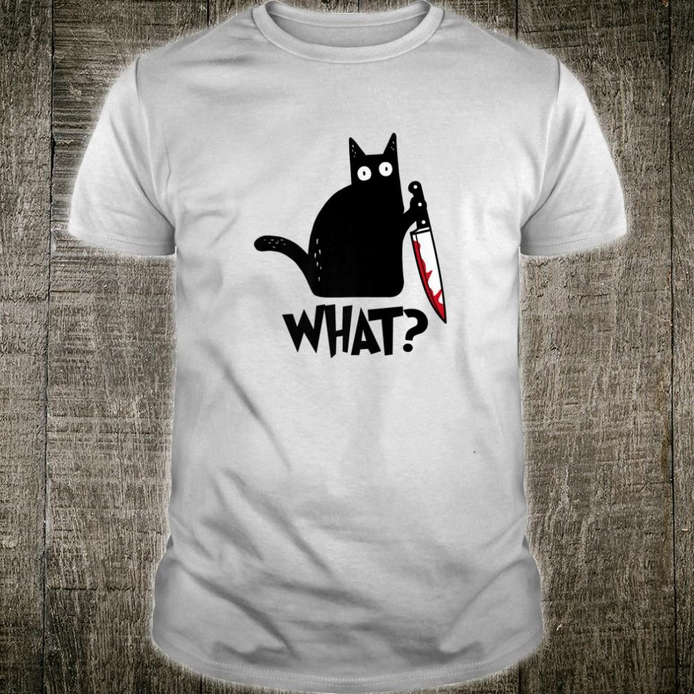 Cat What Murderous Black Cat With Knife Halloween Shirt