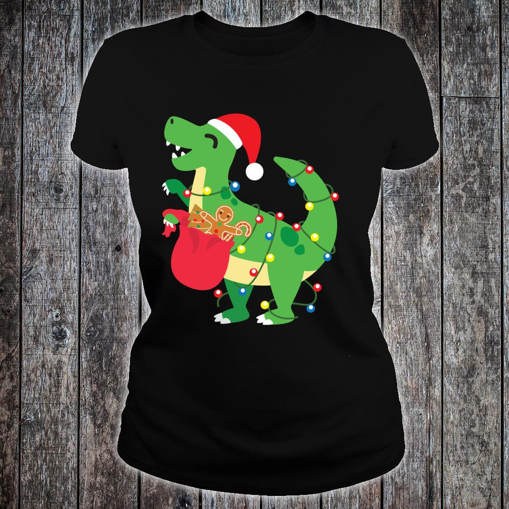 Cookie TRex Santa Cute Dinosaur Boy Christmas Shirt ladies tee