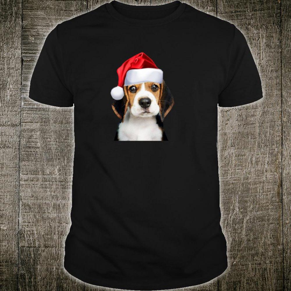 Cute Beagle Santa Hat Dog Image Picture Christmas Shirt