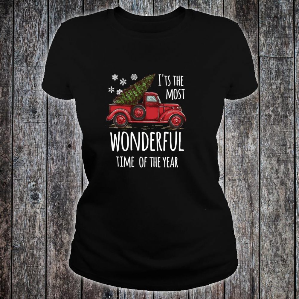 Cute Christmas Truck Design for people who love Christmas Shirt ladies tee