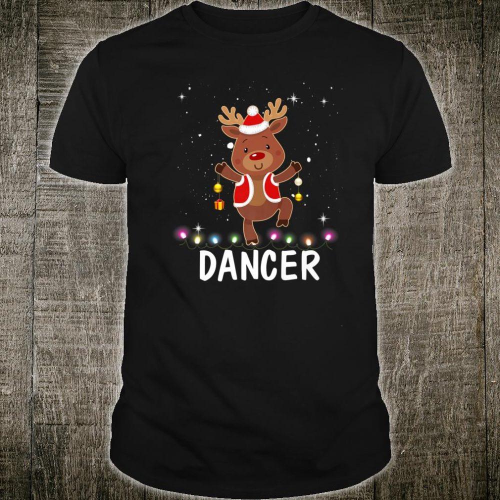 Dancer Reindeer Girl Dancing Pink Christmas Holiday Shirt