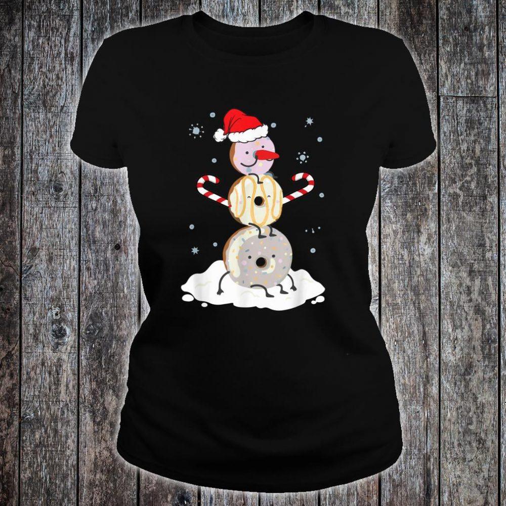Donuts Doughnut Snowman Christmas Shirt For Donutss Shirt ladies tee