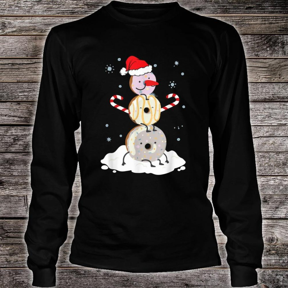 Donuts Doughnut Snowman Christmas Shirt For Donutss Shirt long sleeved