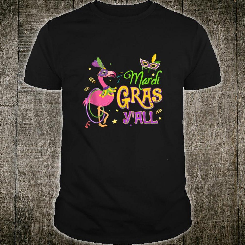 Mask  Beads Its Mardi Gras Yall Jester Flamingo Costume T-Shirt