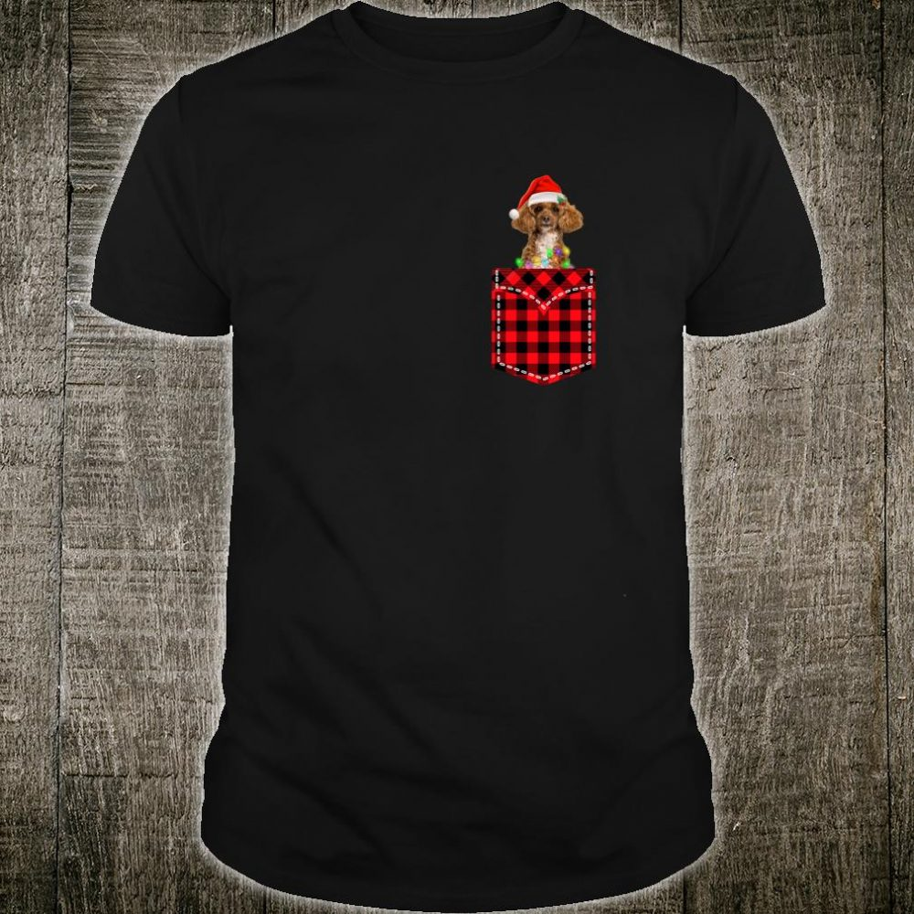 Funny Poodle In Pocket Shirt Buffalo Plaid Xmas Light Shirt