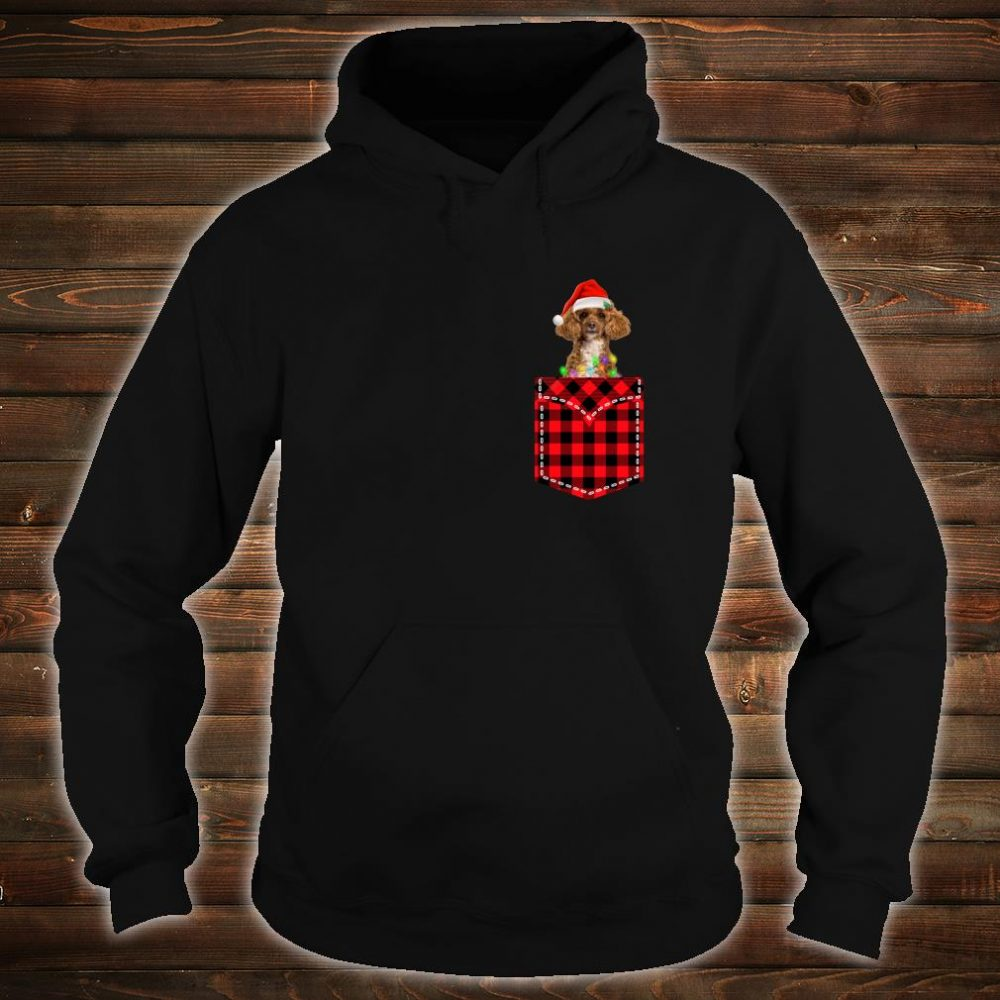 Funny Poodle In Pocket Shirt Buffalo Plaid Xmas Light Shirt hoodie