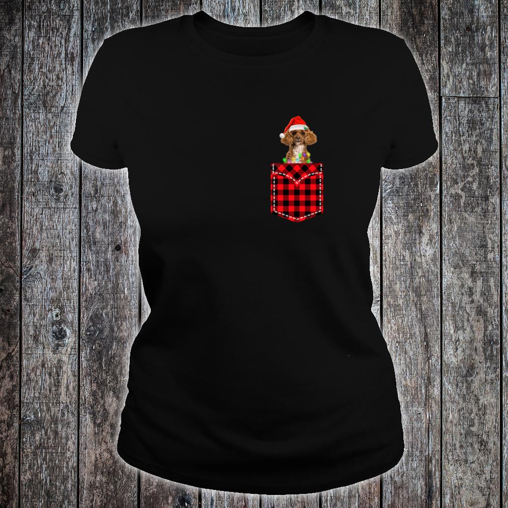 Funny Poodle In Pocket Shirt Buffalo Plaid Xmas Light Shirt ladies tee