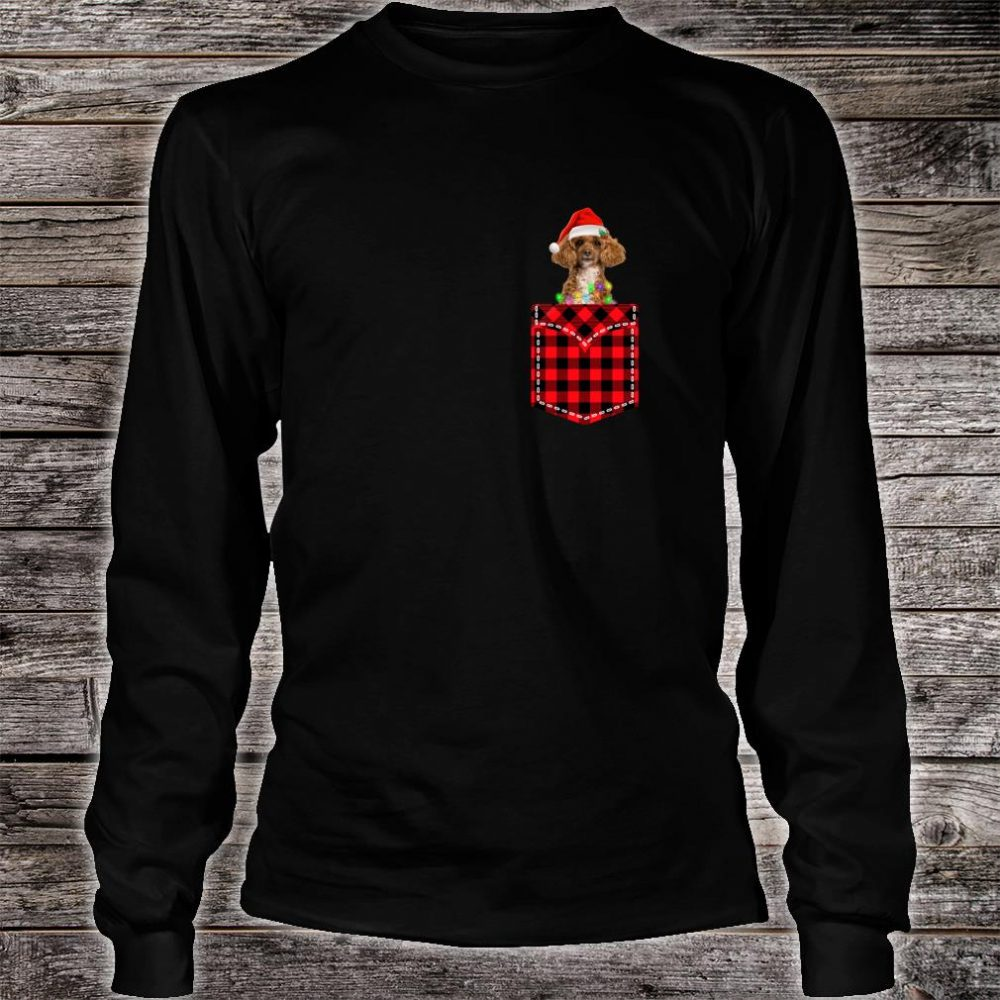 Funny Poodle In Pocket Shirt Buffalo Plaid Xmas Light Shirt long sleeved