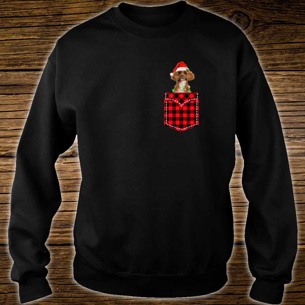 Funny Poodle In Pocket Shirt Buffalo Plaid Xmas Light Shirt sweater