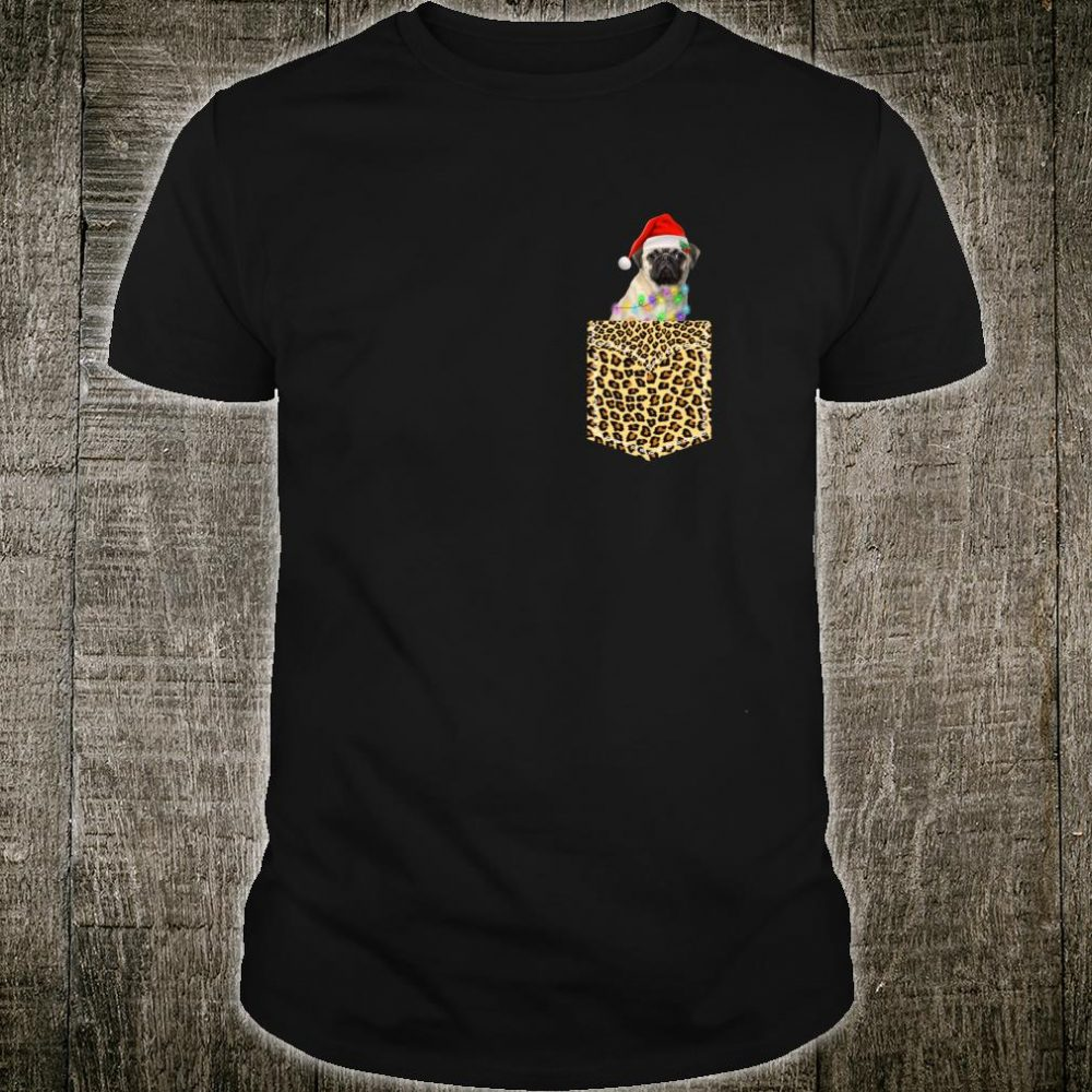 Funny Pug In Pocket Shirt Leopard Plaid Xmas Light Shirt