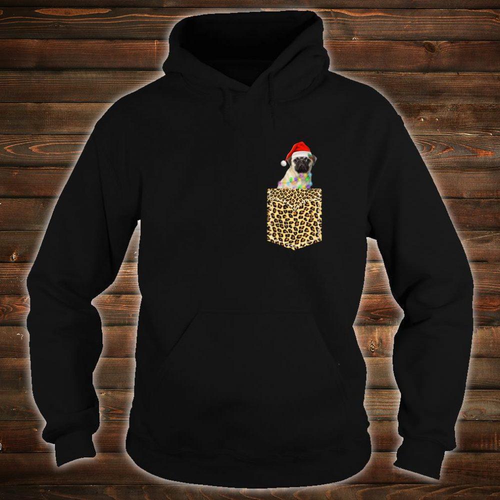 Funny Pug In Pocket Shirt Leopard Plaid Xmas Light Shirt hoodie