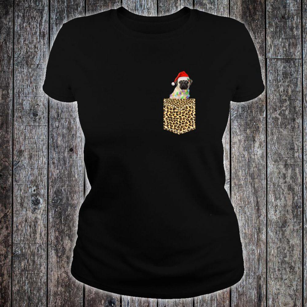 Funny Pug In Pocket Shirt Leopard Plaid Xmas Light Shirt ladies tee