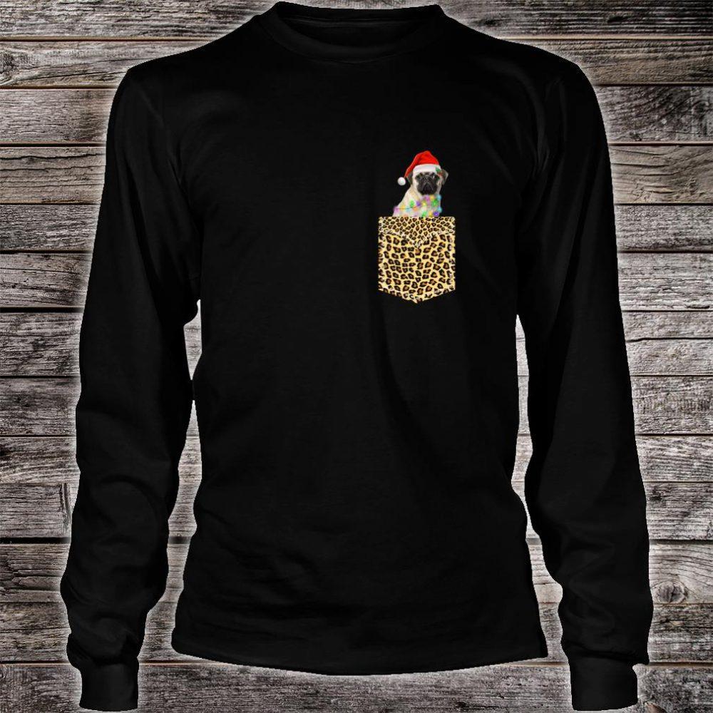 Funny Pug In Pocket Shirt Leopard Plaid Xmas Light Shirt long sleeved