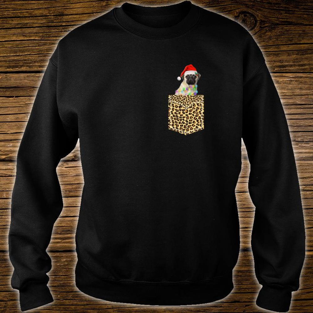 Funny Pug In Pocket Shirt Leopard Plaid Xmas Light Shirt sweater
