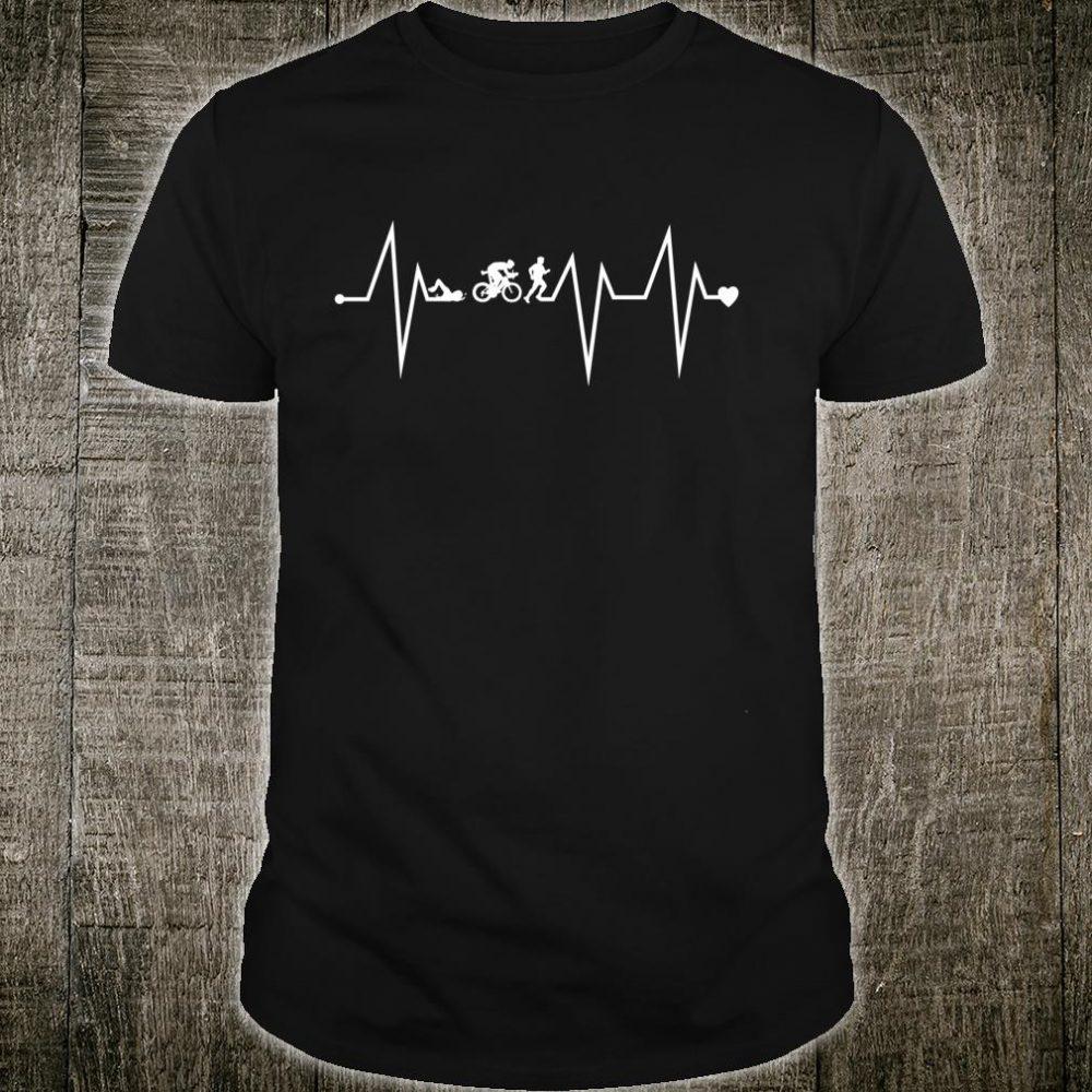 Funny Triathlon Triathlete Heartbeat Heart Pulse Rate EKG Shirt