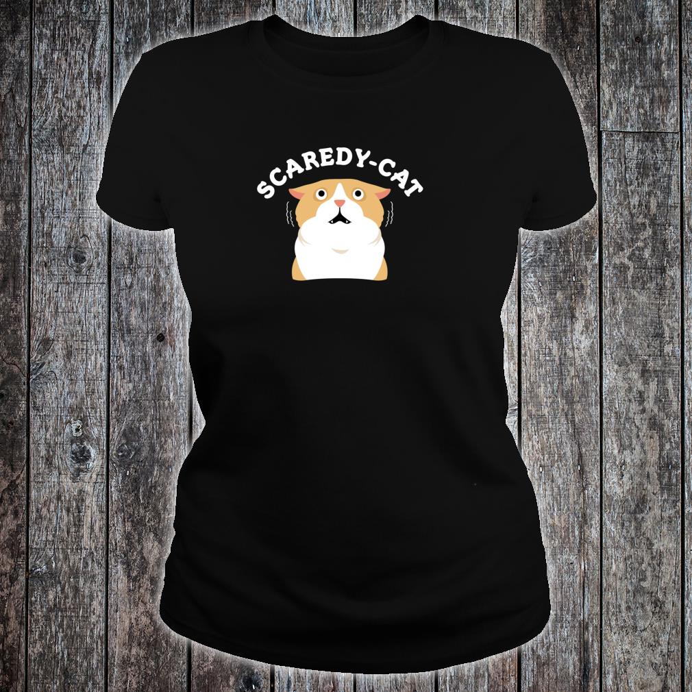 Halloween Scared Kitty Scaredy Cat Shirt ladies tee