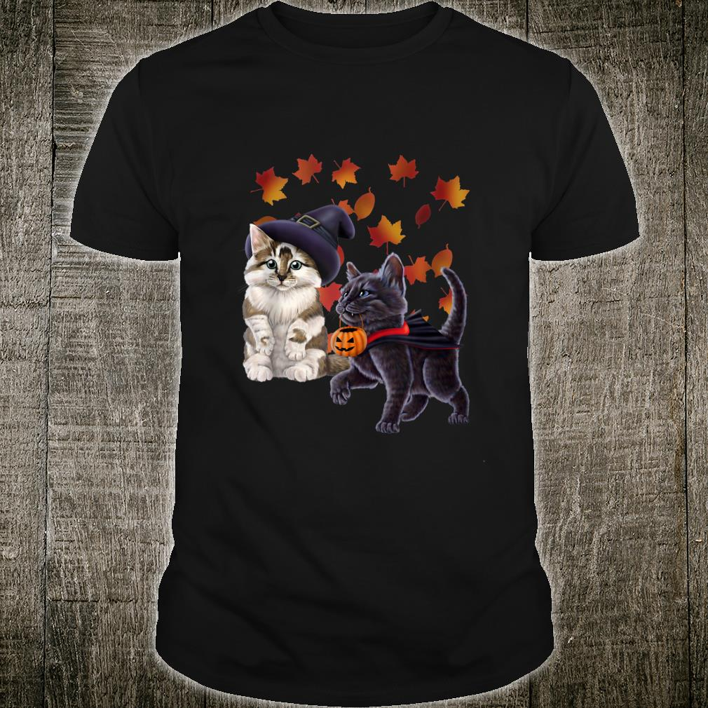 Kittens in witch and vampire costumes. Halloween Shirt