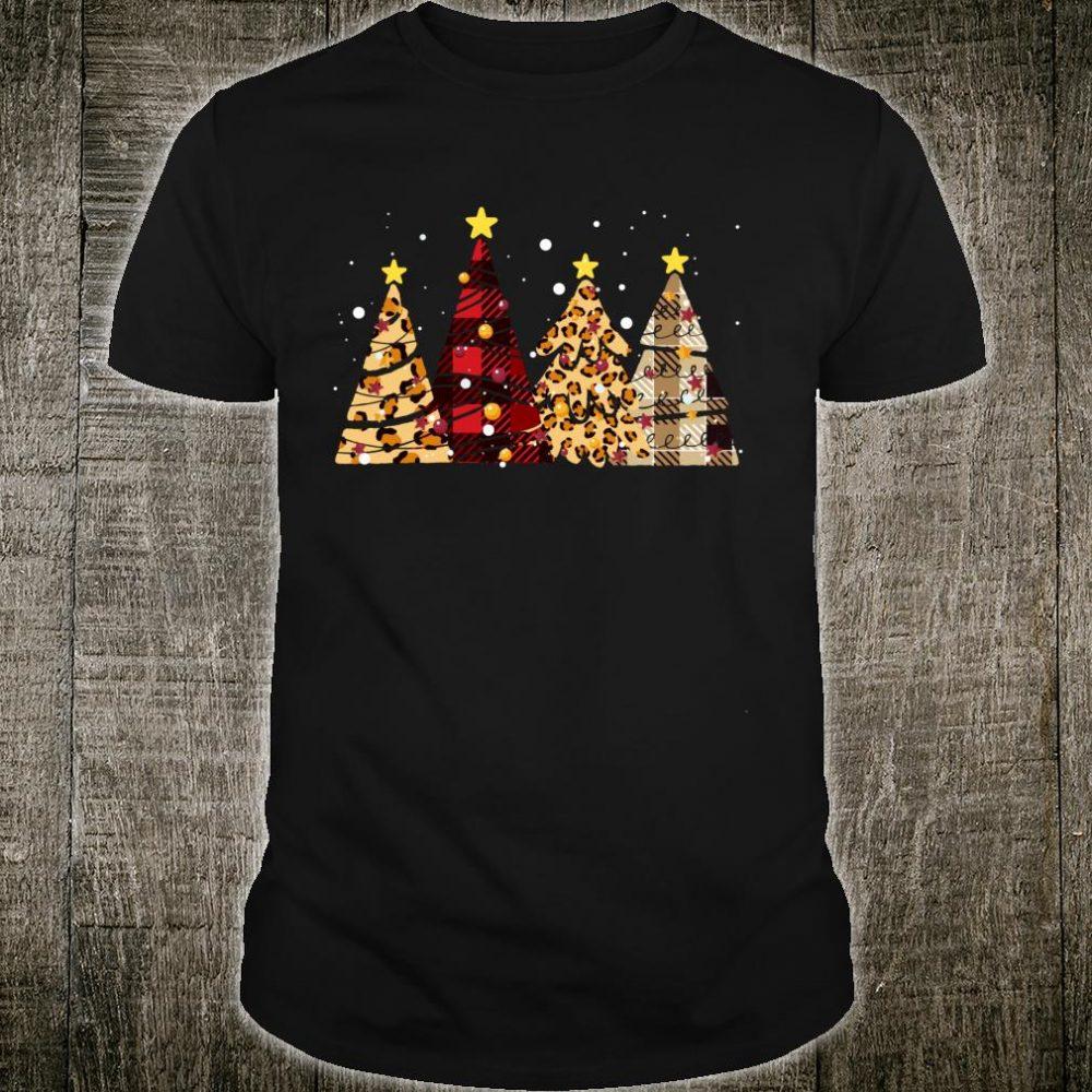 Leopard Buffalo Plaid Xmas Tree Merry Christmas Shirt