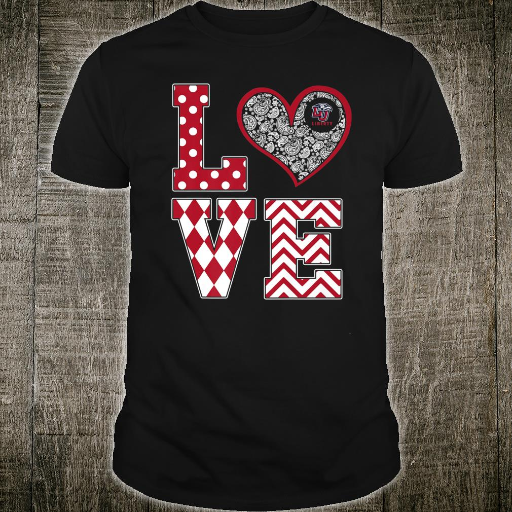 Liberty Flames Stacked Love Game day Tailgate Student Shirt