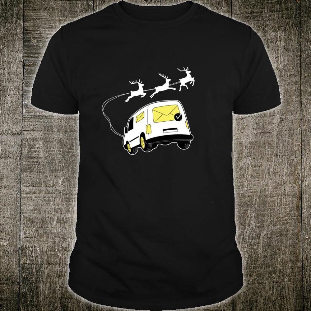 Mail Truck With Christmas Reindeer Sleigh Mail Carrier Shirt