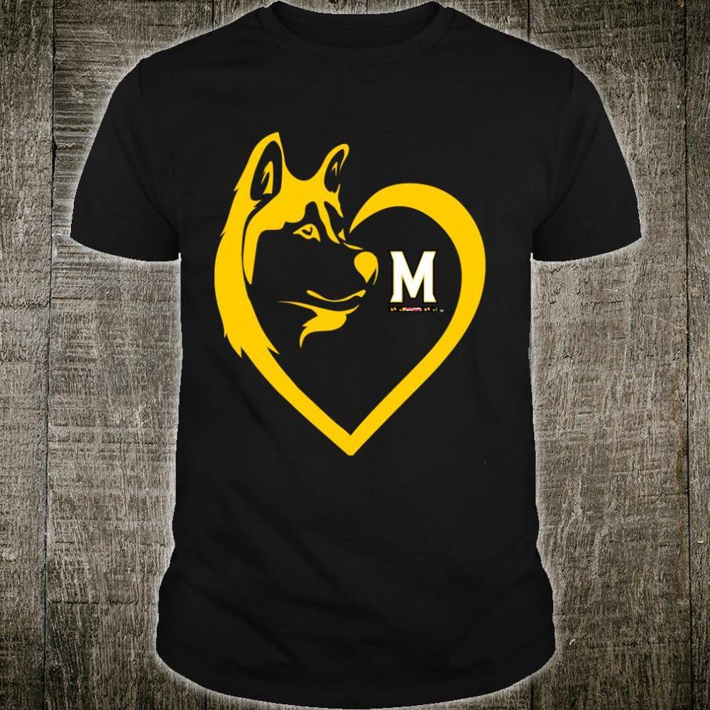 Maryland Terrapins Dogs Husky Heart Team Tailgating Shirt