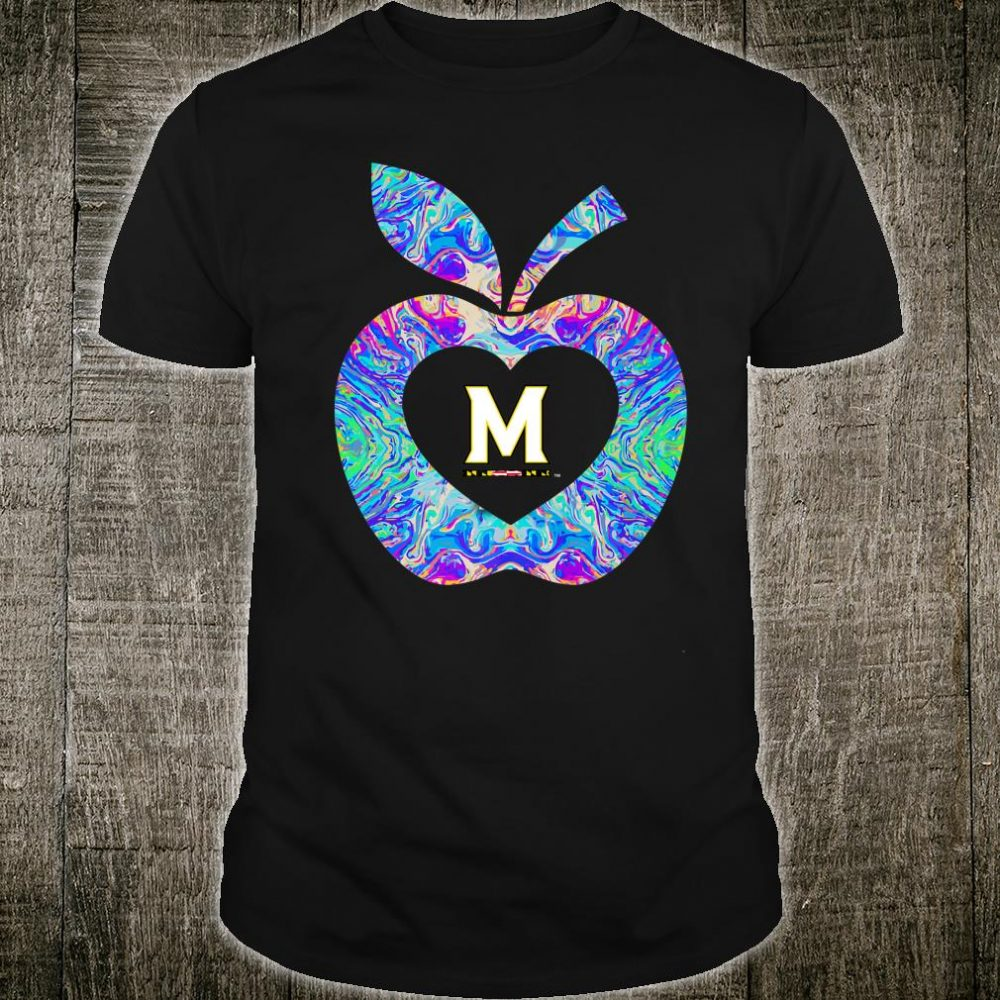 Maryland Terrapins Teacher Apple Rainbow Team Tailgate Shirt
