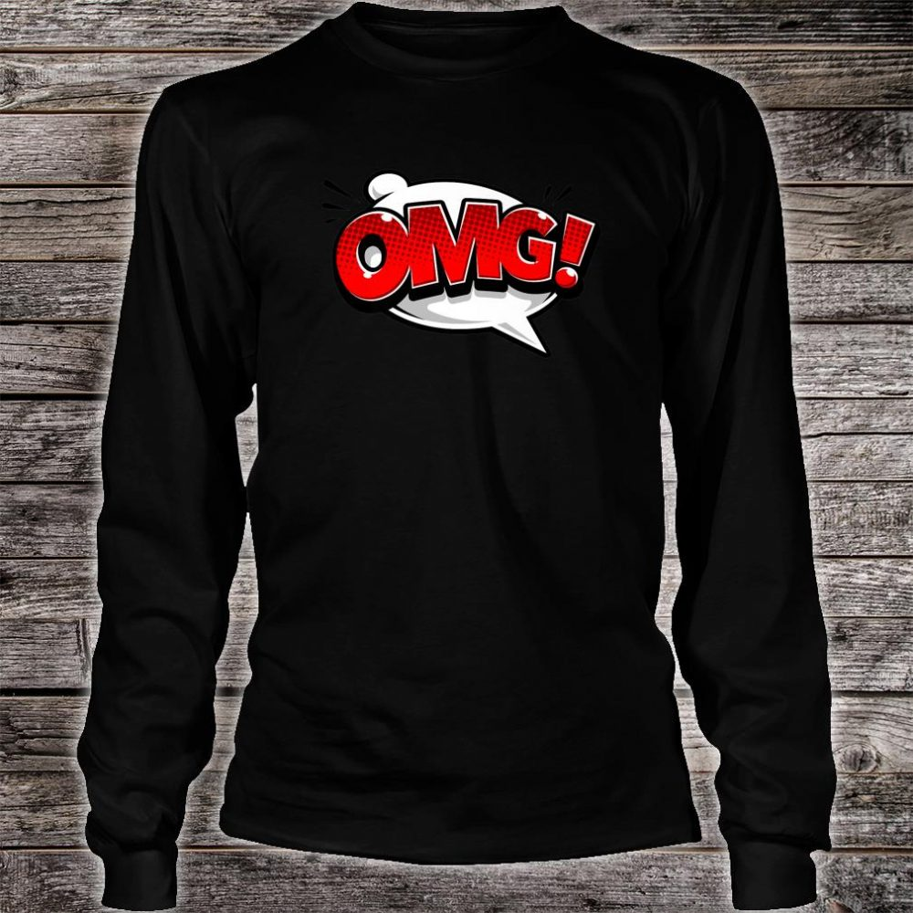 OMG Word Bubble Comic Books Shirt Oh My God Comic Art Shirt long sleeved
