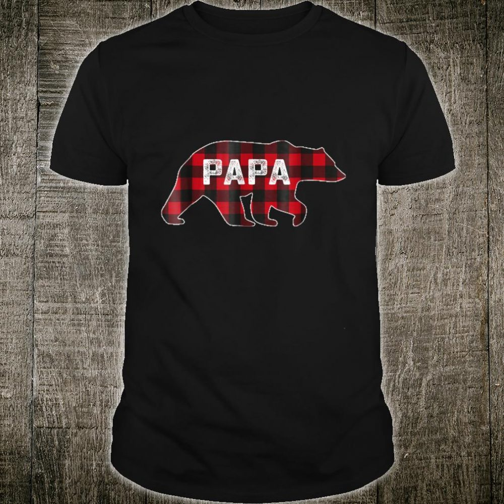 Red Plaid Papa Bear Buffalo Matching Family Pajama Shirt