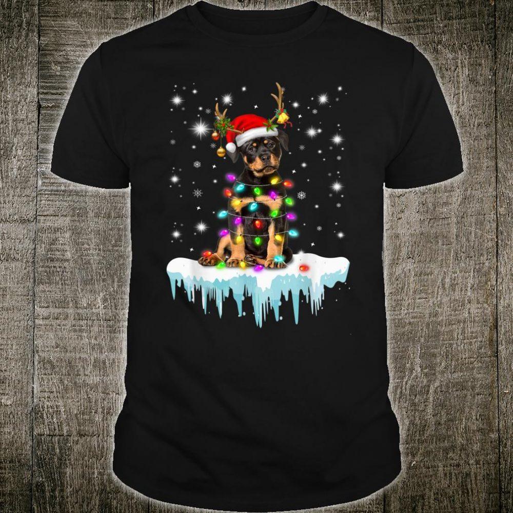 Rottweiler Reindeer Wear Santa Hat Chrismas Light Costume Shirt