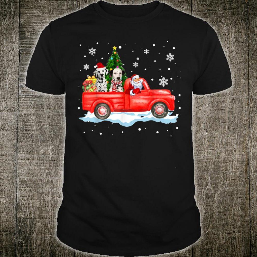 Santa Driving Red Truck Dalmatian Christmas Shirt