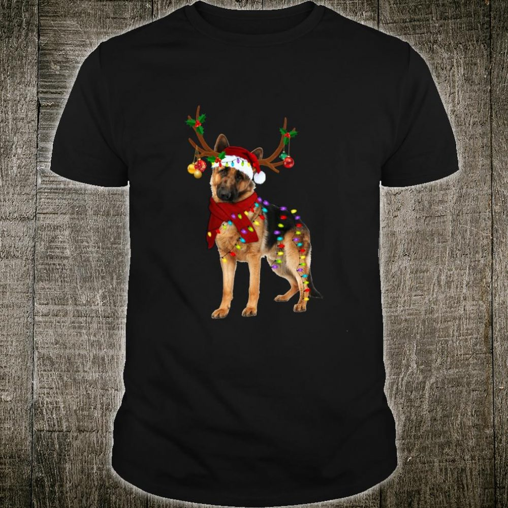 Santa German shepherd reindeer Light Christmas Shirt